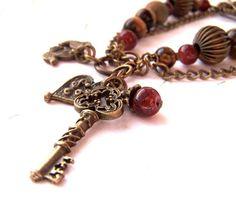 Gemstone Bracelet Boho Chic Bracelet Key Charm by Phoebedreams