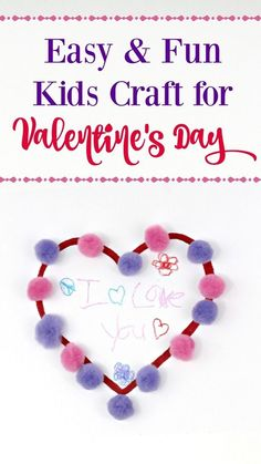 Need a great idea to keep kids busy on those cold, winter days? This Pom Pom Valentine's Day craft for kids is so cute and super simple to make!  It makes a great handmade card to give to relatives too!