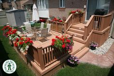 This two level 300 square ft deck was built entirely of Xtendex decking. While the upper level is used for meal preperation the lower level is used to