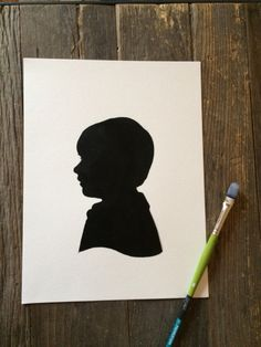 Two Custom Hand Painted Silhouette Portraits