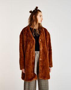 :Long faux fur coat
