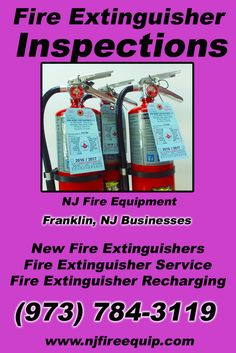 Fire Extinguisher Inspections Franklin, NJ (973) 784-3119We're NJ Fire Equipment.. The Main Source for Fire Protection for New Jersey Businesses. Call Today!  We would love to hear from you.