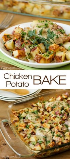 Chicken Potato Bake - Potatoes tossed in garlic and olive oil and baked to a golden brown with tender, juicy chicken thighs. A family favorite! https://www.dizzybusyandhungry.com/chicken-potato-bake/