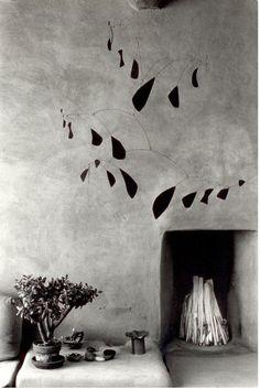 Myron Wood (1921-1999): Mobile by Alexander Calder   Georgia O'Keeffe's house in Abiquiu, New Mexico, 1980 (via)