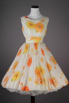 Amazing 50s-60s Yellow, White & Orange VTG Floral Cocktail Dress