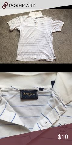 White and blue small striped polo style golf shirt Bobby Jones white and blue striped polo.  Size small but fits like medium. Bobby Jones Shirts Polos