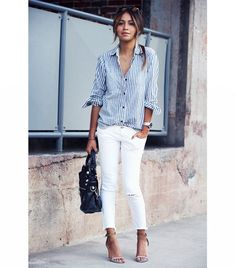 Julie Sarinana of Sincerely Jules ​On Sarinana: Madewell Market Popover Shirt ($78); Free People Destroyed Ankle Skinny Jeans ($78); Isabel Marant heels.