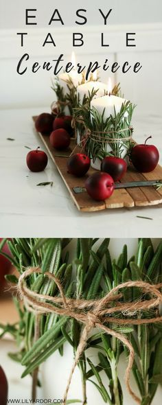 Easy table centerpiece for the upcoming holidays. Wrapped rosemary candles.