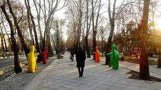 The wide pedestrian sidewalk along the Mellat Park  Tehran