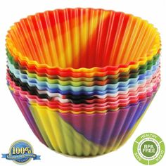 The Original Premium Quality Tie Dye Silicone Baking Cups / Reusable Cupcake Liners Environmentally Friendly with Easy Peel Technology and a Lifetime Guarantee! (Six 12 packs, 72 total) *** Insider's special review that you can't miss. Read more :  : Baking pans