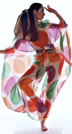 Moyra Swan is wearing a transparent nightwear caftan by Pierre Cardin, 1969 - Photo Bert Stern