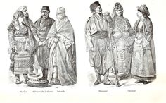 Various folk dress of Turkey, c. 19th century, from L to R: Shkodër (Albania); Edirne (Turkey); Thessaloniki (Greece); Monastir (present-day Bitola, Macedonia); Thessaly (Greece)