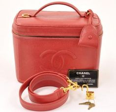 Red caviar leather vanity case