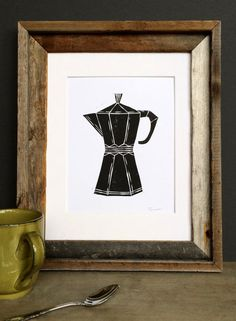 Linocut Print - Coffee / Espresso Maker Kitchen Decor 8 x 10 Block Print - 1-1001