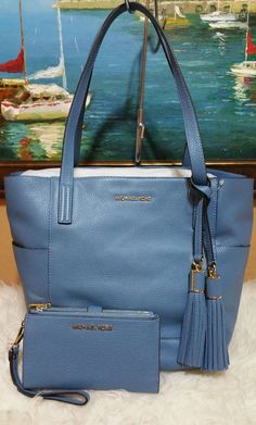 b8dcd828dbf48d MICHAEL KORS Handbag Large SKY BLUE Leather 2 in 1 Ashbury Grab Bag Wallet  set