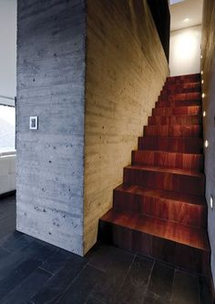 concrete vs. wood stairs.