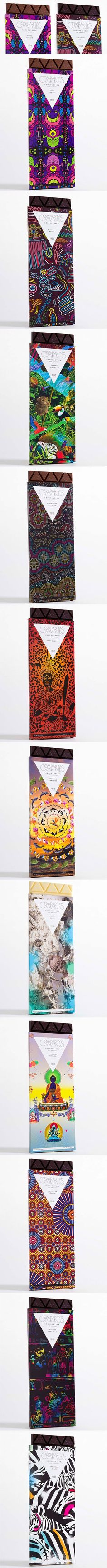 This is a special chocolate packaging design, use strong bright contrast color and illustration, for me, the pack is like to tell a story of fantasy.