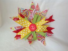 Handmade Pinwheel hair bow by CinderellaBowtique on Etsy, $4.50