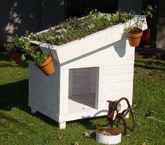 Cucha para perros de pallets con techo verde