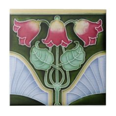 Shop Art Nouveau Reproduction Antique Tile created by decorativetile. Motifs Art Nouveau, Azulejos Art Nouveau, Art Nouveau Tiles, Art Nouveau Design, Antique Tiles, Vintage Tile, Estilo Art Deco, Reproduction, Decorative Tile
