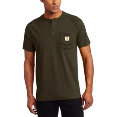 Carhartt Men's Force Cotton Short Sleeve Henley Relaxed Fit (2505 RSD) ❤ liked on Polyvore featuring men's fashion, men's clothing, men's shirts and men's casual shirts
