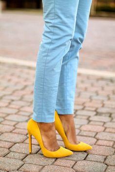 Yellow heels say SPRING! // #fashion