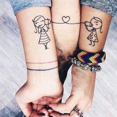 ▷ Ideas and inspirations for sibling tattoo motives - Coole Tattoos - Tatuagens Ideias Friend Tattoos Small, Matching Best Friend Tattoos, Small Tattoos, Sibling Tattoos, Infinity Tattoos, Sister Tattoos, Tattoo Femeninos, Tattoo Motive, Mini Tattoos