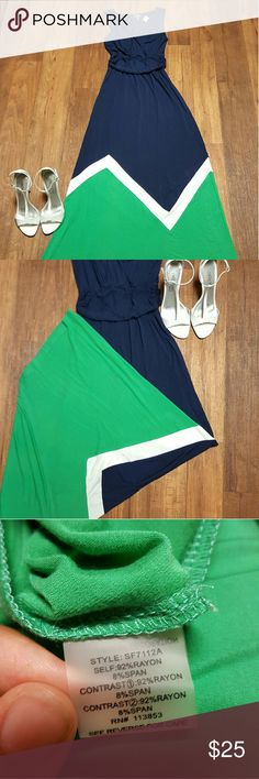 Navy blue and green maxi dress Never worn still has Stitch Fix tag attached Market & Spruce Dresses Maxi
