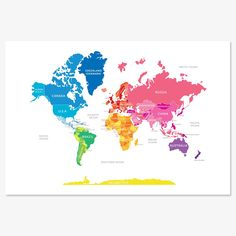 Learning geography is so much more fun with English Muffin's Bright Map of the World Print. It's the perfect piece of decor for any little boy or girl's room.