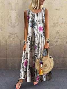 Vintage Print Floral Sleeveless Button Down Dress Online - NewChic Mobile Day Dresses, Dresses Online, Casual Dresses, Fashion Dresses, Women's Fashion, Comfy Dresses, Mini Dresses, Fashion Online, Summer Dresses