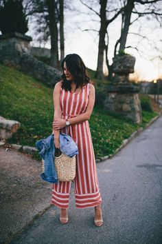 Red Striped Jumpsuit, Jumpsuit for Spring, How to Style a Jumpsuit with Heels | Structured Straw Tote