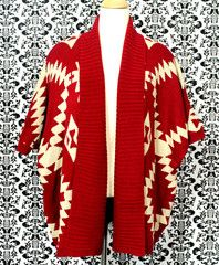 Red Mistletoe Navajo Knit Batwing Cardigan by Lovely Girl | Primaulani Fashion Online Store    Comfy cable knit everyday cardigan available in red and navy. Featuring navajo pattern, batwing sleeves and wide collar. Designed with loose fit cut and open front design.