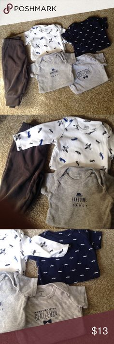 Baby boy clothes Four onesies, (three short sleeve one long sleeve) and 1 pair of pants. Barely worn. All size 3 mos. Carter's One Pieces Bodysuits