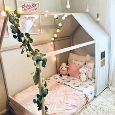 Baby Names Discover US Full Size bed with linen cover&window Children house bed Modern Floor bed Wooden baby bed Play house bed frame Montessori bed Toddler Floor Bed, Toddler Rooms, Baby Floor Bed, Toddler House Bed, Floor Beds For Toddlers, House Beds For Kids, Kid Beds, Bed Ideas For Kids, Beds For Kids Girls