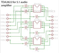 Circuit combination of the 3 IC above can be used for audio power amplifier system with low power output . Bose Surround Sound, Surround Sound Systems, Subwoofer Speaker, Audio Amplifier, Speakers, Arduino, Analog Signal, Circuit Diagram, Electronic Engineering
