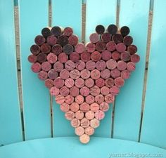 Heart Shape made from wine corks! Believe it or not, these corks are WINE stained, not dyed! So awesome!