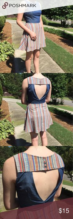 Lovely Chambray Colorful Detail Open Back Dress