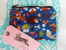 Handmade Coin Purse Makeup Bag Padded Hedgehogs Mouse Owl Pouch Woodland Animals