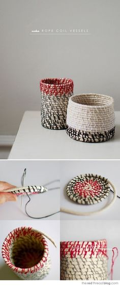 DIY Corbeilles en corde_DIY step by step Rope coil vessels Rope Crafts, Fun Crafts, Diy And Crafts, Arts And Crafts, Amazing Crafts, Diy Projects To Try, Craft Projects, Craft Ideas, Decor Ideas