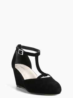 Suede Mary Jane Mini Wedges