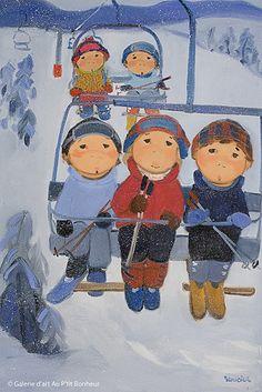 Guylène Saucier, 'Vers le sommet', x Ski Drawing, Art Gallery, Galerie D'art, Skiers, Art Plastique, Winter Holidays, Sunday School, Folk Art, Watercolor Paintings