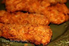 Crunchy Saltine Chicken Tenders - Boneless, skinless chicken breasts, cut into strips, seasoned and dusted with flour, dipped into beaten egg, and rolled into well crushed saltine crackers - a southern favorite!
