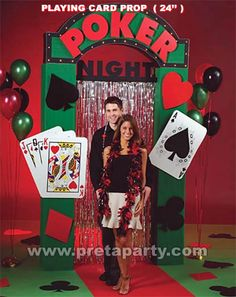 Casino theme playing cards & backdrop prop.