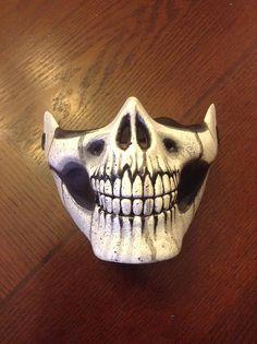 Hand-painted custom half skull mask Half Skull, Skull Mask, Masks Art, Halloween 2017, Diy Mask, Hand Painted, Cool Stuff, Unique Jewelry, Handmade Gifts