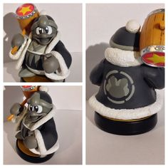 Monochrome/Retro alternate costume custom amiibo from Smash Bros 4 for King Dedede. Base and Hammer have been left unpainted to stay true to in-game alt, if youd like them to be monochrome as well, please just shoot me a note with your order. :)
