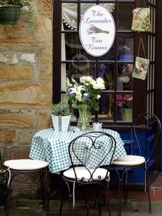 The Lavender Tea Rooms -Bakewell, Derbyshire, England.  Bakewell is a small market town in the Derbyshire Dales district of Derbyshire, England, deriving its name from 'Beadeca's Well'. Wikipedia