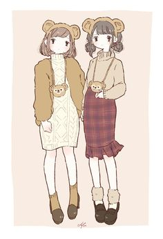 Phone Wallpaper Design, Bear Wallpaper, Anime Outfits, Disney Outfits, Pretty Art, Cute Art, Chino Anime, Character Art, Outfits