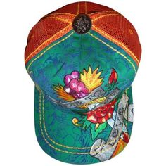 Men s Ed Hardy Hat Cap True to my Love Green Orange at Amazon Men s Clothing  store  Baseball Caps c6d2511244c