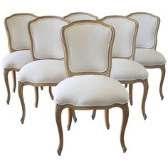 For Sale on - century set of six wood Louis XV style dining chairs in natural Belgian linen Frames have newly retied spring seats, and brand new linen upholstery French Dining Chairs, Wooden Dining Room Chairs, Dining Chair Set, Dining Table, Retro Furniture, Cheap Furniture, Home Furniture, Furniture Websites, Furniture Ideas