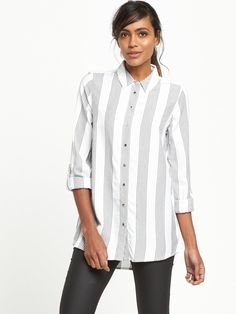 River Island Casual Stripe Shirt This casual strip shirt by River Island is perfect for throwing on at a moment's notice, whether it's a weekday or weekend! The relaxed fit and roll up sleeves add to this separates off-duty appeal, while the grey stripe design makes an immediate statement.Wear yours with your denim edit or why not try a pair of skinny leather look trews and ankle boots for a gig-ready style?Washing Instructions: Machine Washable100% ViscoseDo not dry cleanCool ironMac...
